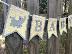 Amarillo y gris bebé ducha - elefante bebé ducha - Chevron bebé ducha Banner…