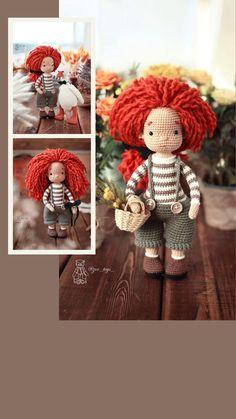 Cute Crochet, Crochet Toys, Doll Toys, Dolls, Ginger Hair, Handmade Toys, Crochet Patterns, Teddy Bear, Baby Dolls