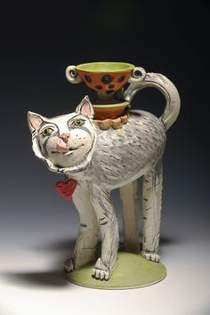 """White Tea Cat and A Service Of One"" ceramic sculpture created by artist Amy Goldstein-Rice. #oneofakind"