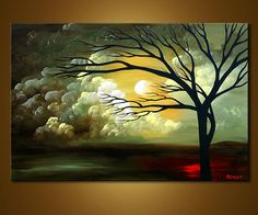sunrise painting tree - Google Search