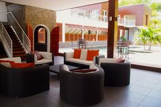 Patio seating at the new Domaine des Fonds Blancs, Martinique.