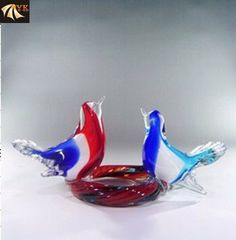 Blowing Murano Glass Animal Birds On Plate