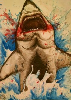 HAPPY SHARK WEEK>>> A shark done in contour pen, ink, and watercolors. By Rainbow Dynasty