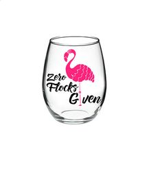 FLAMINGO Flamingo Wine Glass Pun Wine Glass by DanniBeCollection