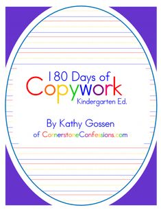 """180 Days of Copywork for Kindergarten- Perfect accompaniment for """"Teach your child to read in 100 lesson"""""""