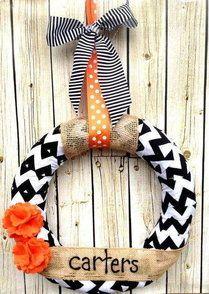 Black White Chevron Wreath-chevron wreath