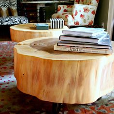 Check out this project on RYOBI Nation - I picked up (literally) a couple of large tree rounds from the roadside. I knew immediately what I would do with them - make tables. I let them dry for at least a year - maybe two - in the garage. The splits occurred while they were drying. I chipped off the bark with a hammer and chisel then started sanding. The sanding went on and on. It was excessive because of the large chain-saw impressions burned into the wood. I sanded until the saw marks were…
