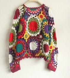 Transcendent Crochet a Solid Granny Square Ideas. Inconceivable Crochet a Solid Granny Square Ideas. Pull Crochet, Mode Crochet, Hand Crochet, Knit Crochet, Crochet Tops, Black Crochet Dress, Crochet Cardigan, Crochet Long Sleeve Tops, Estilo Hippie