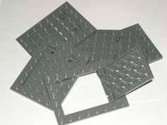 Lego 5 Dark Bluish Gray Plates Modified 4x6 with Trap Door Hinge 79103   eBay