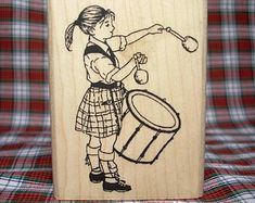 Écossais Lass Drummer Girl Rubber Stamp Pipe Band Ecosse
