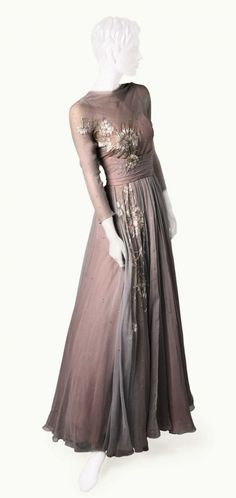 "Layered Chiffon Ball Gown with Rhinestones and Pink and White Embroidered Flowers - Grace Kelly wore this in the movie ""High Society."""