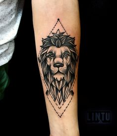 Tattoo Yuliya Lintu - tattoo's photo In the style Blackwork, Lions, Animals, Ma Tribal Hand Tattoos, Herren Hand Tattoos, Tribal Wolf Tattoo, Geometric Lion Tattoo, Left Arm Tattoos, Lion Forearm Tattoos, Lion Arm Tattoo, Rose Tattoos For Men, Hand Tattoos For Guys