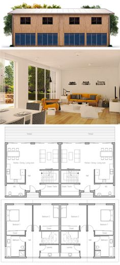 12 Duplex House Design with Floor Plan Duplex House Design with Floor Plan. 12 Duplex House Design with Floor Plan. Home Design Plan with 3 Bedrooms Plan Duplex, Duplex House Plans, Modern House Plans, Duplex House Design, Small House Design, Best Home Plans, Home Design Floor Plans, Villa, Modern Bungalow