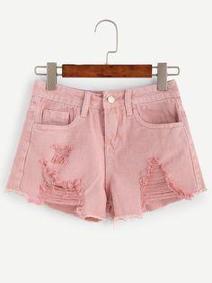 Shorts denim desgastados-Sheinside