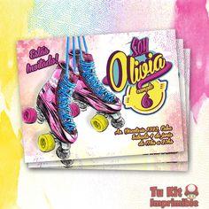 Invitación Soy Luna Roller Skating Party, Skate Party, Cumpleaños Soy Luna Ideas, Roller Skate Cake, Ideas Para Fiestas, Son Luna, Party Themes, Party Ideas, Holidays And Events