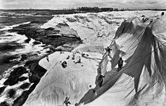 christo + jean-claude. wrapped coast, one million square feet, little bay, sydney, australia, 1968-69