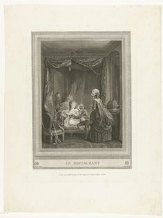 Martial Deny   Le restaurant, Martial Deny, Lawrence, Gérard Vidal, 1755 - 1855   In een vertrek zit een jong paar op een canapé met baldakijn. De dame is in négligé en heeft een kopje thee in de hand. De heer omhelst haar. Voor het stel een vrouwelijke bediende, op de rug gezien,  met een kopje in de hand.