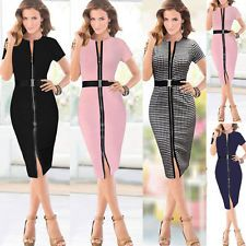 Women Slim Fit Zipper Belted Bodycon Party Cocktail Office Business Pencil Dress