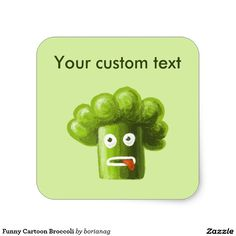 Funny Cartoon Broccoli Square Sticker