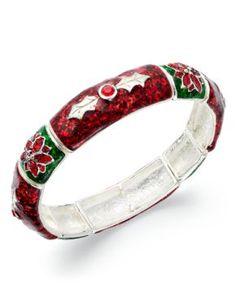 Charter Club Bracelet, Silver Tone Red and Green Glitter Poinsettia Stretch Bracelet