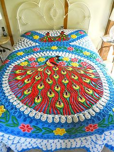 vintage chenille bedspread with peacock ~~