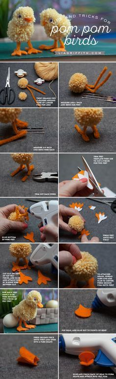 Yarn Pom Pom Animals Kids Craft, DIY and Crafts, DIY pom pom bird tutorial from MichaelsMakers Lia Griffith. Fun Crafts For Kids, Hobbies And Crafts, Crafts To Make, Arts And Crafts, Craft Kids, Pom Pom Crafts, Yarn Crafts, Pom Pom Diy, Spring Crafts