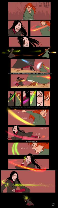 "Epic depiction of the ""not my daughter scene"" from Harry Potter DH - Molly Weasley battles Bellatrix Lestrange Molly Weasley is amazing. Arte Do Harry Potter, Yer A Wizard Harry, Harry Potter Universal, Harry Potter Fandom, Harry Potter Memes, Harry Potter World, Potter Facts, Bellatrix Lestrange, Fantastic Beasts"
