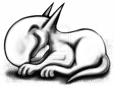 English Bull Terrier Always Up To Something by sookiesooker.deviantart.com on @deviantART