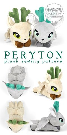 Peryton plush sewing pattern   mythical winged deer soft toy stuffed animal --- all of the Legendary Creatures patterns are amazing. Sew Desu Ne?
