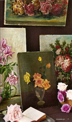 old oil paintings-shabby chic roses