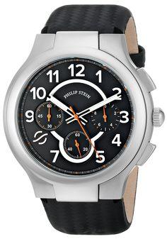 Philip Stein Men's 45-SCRBK-BB Round Analog Display Japanese Quartz Black Watch