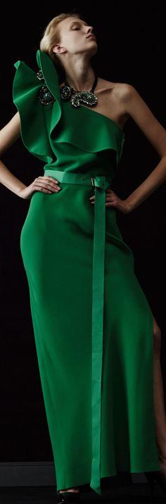LANVIN RTW RESORT 2014 Green One Shoulder Gown