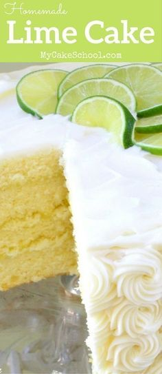 Best New : AMAZING lime cake from scratch on my cake school. Köstliche Desserts, Delicious Desserts, Dessert Recipes, Summer Cake Recipes, Key Lime Kuchen, Food Cakes, Cupcake Cakes, Lime Cake Recipe, Nake Cake