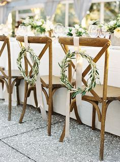 wreath and ribbon, wreath bride and groom chair decor