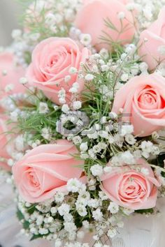 Wedding bouquet from pink roses close up Stock Photo