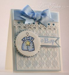 Amazing Paper Grace baby boy card using Cuttlebug Argyle embossing folder. Argyle is adorable! Baby Boy Cards Handmade, New Baby Cards, Greeting Cards Handmade, Baby Shower Invitaciones, Embossed Cards, Baby Shower Cards, Baby Kind, Embossing Folder, Kids Cards