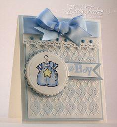 Amazing Paper Grace baby boy card using Cuttlebug Argyle embossing folder
