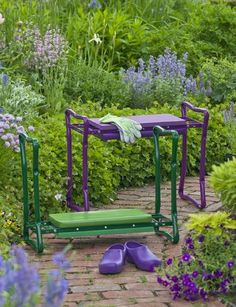 Gift idea - love purple! Deep-Seat Garden Kneeler flips to become a padded bench - buy at gardeners.com
