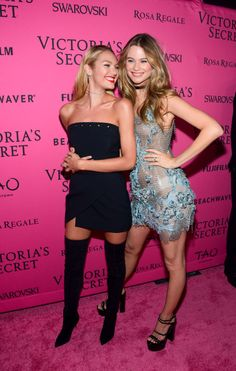 Candice Swanepoel and Behati Prinsloo on the pink carpet. Photo: Grant Lamos IV/Getty Images