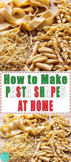 How to Make Pasta Shapes at Home - Easy tutorial. Learn how to make pasta at home without any specia Homemade Pasta Dough, Homemade Egg Noodles, Pasta Formen, How To Make Noodles, Tube Pasta, How To Make Macaroni, Caramelized Bacon, Lotsa Pasta, Pasta Maker