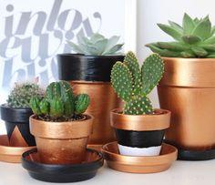 Super einfache DIY Idee: Terrakotta-Töpfe bemalen. #kupfer #schwarz #weiss #DIY #urbanjunglebloggers