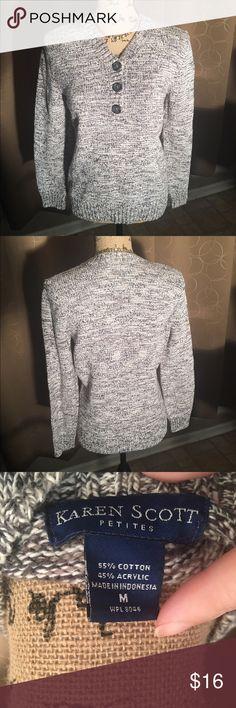 Karen Scott petite sweater Beautiful Karen Scott button front v-neck sweater size petite medium Karen Scott Sweaters
