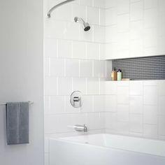 White Tile Shower, Bathtub Shower Combo, Bathroom Tub Shower, Bathtub Tile, Tub And Shower Faucets, Bathroom Ideas, Bath Tub Tile Ideas, Small Bathroom, Shower With Tub