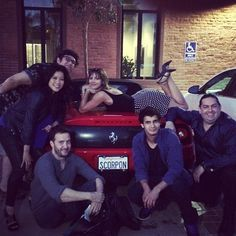 Omg I love Paige! Look at her on the car. And wanna know why I love this picture? It has the real Walter O' Brien on the very right by Elyes Gabel the one who acts in the show as Walter O' Brien