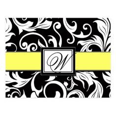 Yellow Save the Date Wedding Invitations Black & Yellow Damask Wedding Save the Dates Postcard