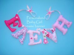 Personalized name Banner fabric letters by LittleFairyCottage, $7.00