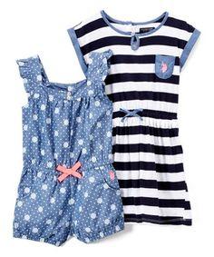 8088f1f4b Blue   Black Stripe   Polka Dot Romper   Dress - Infant   Toddler Camisolas