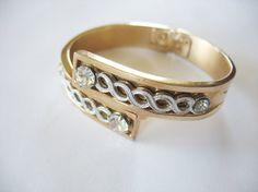 Cuff Bracelet Goldtone Art Deco Design Rhinestones by tubbytabby, $42.00