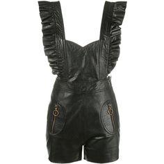 Philosophy Di Lorenzo Serafini Philosophy Di Lorenzo Serafini Short... ($580) ❤ liked on Polyvore featuring jumpsuits, black, short overalls, bib overalls, ruffle jumpsuit, leather bib overalls and leather overalls