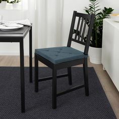 JUSTINA Chair pad, dark blue, stripe, This chair pad is made for long, delicious dinners. The soft foam filling will make even the most restless feel relaxed at the table. Chaise Ikea, Ikea Chair, Hook And Loop Fastener, Polyurethane Foam, Chair Pads, Blue Stripes, Dark Blue, Furniture, Dining Rooms